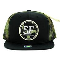 SM062 San Francisco Snapback Trucker Mesh Cap (Black & Military Camo)