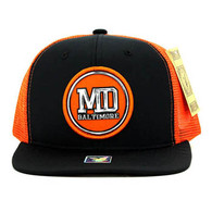 SM062 Baltimore Snapback Trucker Mesh Cap (Black & Orange)
