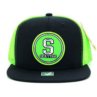 SM062 Seattle Snapback Trucker Mesh Cap (Navy & Lime)