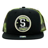 SM062 Seattle Snapback Trucker Mesh Cap (Black & Military Camo)