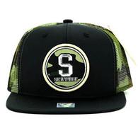SM062 Seattle Snapback Trucker Mesh Cap (Black & Military Camo)