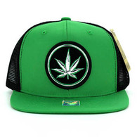 SM062 Marijuana Snapback Trucker Mesh Cap (Kelly Green & Black)