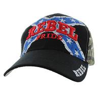VM061 Rebel Pride Velcro Cap (Black & Hunting Camo)