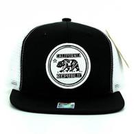 SM062 Cali Bear Snapback Trucker Mesh Cap (Black & White)