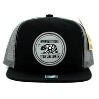 SM062 Cali Bear Snapback Trucker Mesh Cap (Black & Grey)