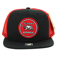 SM062 Cali Bear Snapback Trucker Mesh Cap (Black & Red)