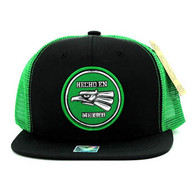 SM062 Hecho En Mexico Snapback Trucker Mesh Cap (Black & Kelly Green)