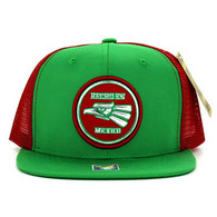 SM062 Hecho En Mexico Snapback Trucker Mesh Cap (Kelly Green & Red)