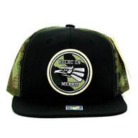 SM062 Hecho En Mexico Snapback Trucker Mesh Cap (Black & Military Camo)
