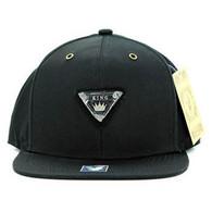 SM969 King Cotton Snapback Cap Hat (Solid Black)