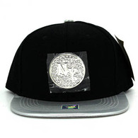SM889 New York Snapback Cap (Black & Silver)