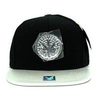 SM889 Marijuana Snapback Cap (Black & Silver)