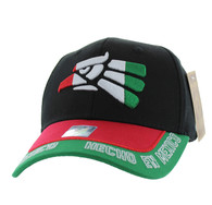 VM981 Hecho En Mexico Cotton Baseball Cap Hat (Black & Red)