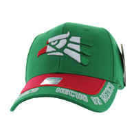 VM981 Hecho En Mexico Cotton Baseball Cap Hat (Kelly Green & Red)