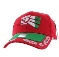 VM981 Hecho En Mexico Cotton Baseball Cap Hat (Red & Kelly Green)