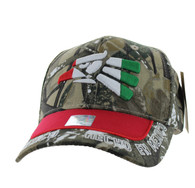 VM981 Hecho En Mexico Cotton Baseball Cap Hat (Hunting Camo & Red)
