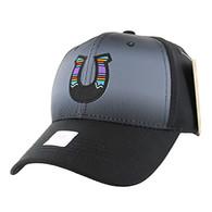 VM056 Horse Shoe Baseball Velcro Cap (Solid Black)