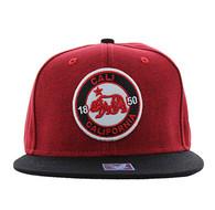 SM804 Cali Bear Snapback Cap (Red & Black)