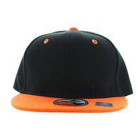 SP021 Kids Two Tone Snapback Cap (Black & Orange)