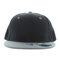 SP021 Kids Two Tone Snapback Cap (Black & Grey)