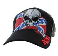 VM100 Rebel Skull Velcro Cap (Black & Hunting Camo)