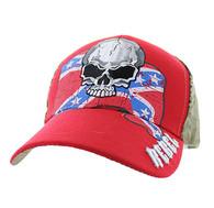VM100 Rebel Skull Velcro Cap (Red & Hunting Camo)