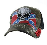 VM100 Rebel Skull Velcro Cap (Hunting Camo & Black)
