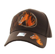 VM158 Horse & Rope Velcro Cap (Solid Brown)