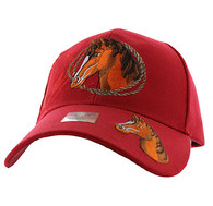 VM158 Horse & Rope Velcro Cap (Solid Red)