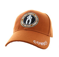 VM185 100% Real Cowboy Velcro Cap (Solid Texas Orange)