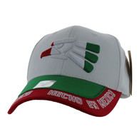 VM981 Hecho En Mexico Cotton Baseball Cap Hat (White & Kelly Green)