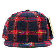 SP001 Blank Plain Checker Snapback Cap Hat (Solid Red)