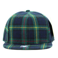 SP001 Blank Plain Checker Snapback Cap Hat (Solid Green)