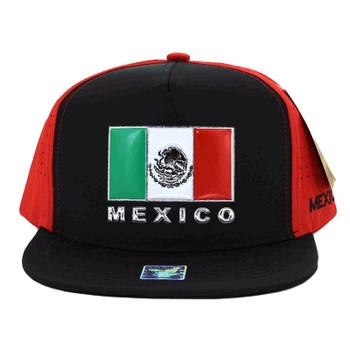 SM962 Hecho En Mexico Snapback Cap (Black & Red) - Ace Cap, Inc
