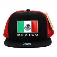 SM962 Hecho En Mexico Mesh Trucker Snapback Cap (Black & Red)