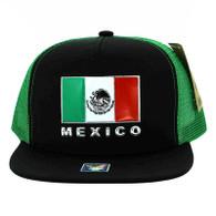 SM962 Hecho En Mexico Mesh Trucker Snapback Cap (Black & Kelly Green)