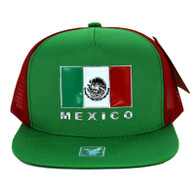 SM962 Hecho En Mexico Mesh Trucker Snapback Cap (Kelly Green & Red)