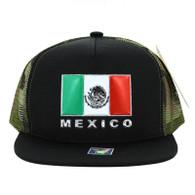 SM962 Hecho En Mexico Mesh Trucker Snapback Cap (Black & Military Camo)
