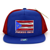 SM962 Puerto Rico Mesh Trucker Snapback Cap (Royal & Red)