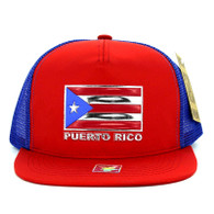SM962 Puerto Rico Mesh Trucker Snapback Cap (Red & Royal)