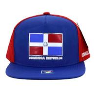 SM962 Dominica Republic Mesh Trucker Snapback Cap (Royal & Red)