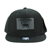 SM045 California Republic Snapback (Solid Black) - Black Metal