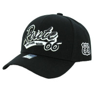 VM967 Route 66 Velcro Cap (Solid Black) - White Patch