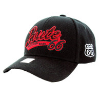 VM967 Route 66 Velcro Cap (Solid Black) - Red Patch