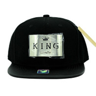 SM045 King Snapback (Solid Black) - Silver Metal