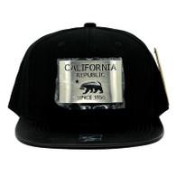 SM045 California Republic Snapback (Solid Black) - Silver Metal