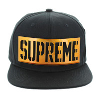 SM057 Supreme Snapback (Black & Black) - Copper Metal