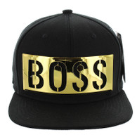 SM057 BOSS Snapback (Black & Black) - Golden Metal