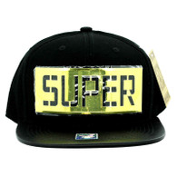 SM057 Super Snapback (Black & Black) - Golden Metal