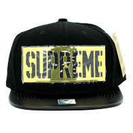 SM057 Supreme Snapback (Black & Black) - Golden Metal
